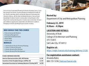 Workshop: Community Planning for Disaster Recovery, February 22nd